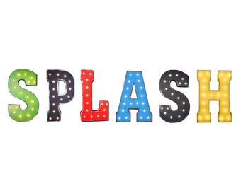 "On Sale! 21"" SPLASH Metal Sign - Wet Splash Pad Water Park Fun Kids - Free Stand or Hang - Rustic Vintage Style Marquee Light Up Letters"