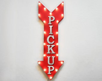 "On Sale! 36"" PICK UP Metal Arrow Sign - Plugin or Battery Operated Led - Pickup To Go Food Order Tickets - Rustic Marquee Light up"