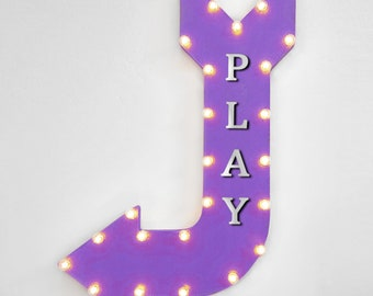 """On Sale! 36"""" PLAY Metal Arrow Sign - Plugin, Battery or Solar - Playroom Fun Games Kids Playtime Recess - Rustic Marquee Light Up Sign"""