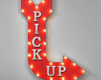 """On Sale! 36"""" PICK UP Metal Arrow Sign - Plugin or Battery Operated - Pickup Take Out Takeout - Rustic Marquee Light up"""