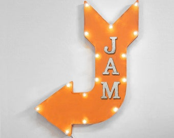 "On Sale! 24"" JAM Curved Metal Arrow Sign - Play Fun Live Music - Rustic Vintage Marquee Light Up"