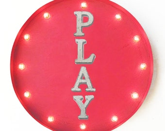 "On Sale! 20"" PLAY Round Metal Sign - Plugin or Battery Operated - Fun Kids Toys Game - Rustic Vintage Marquee Light Up"