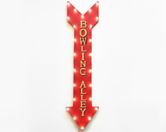 "On SALE! 48"" BOWLING ALLEY Pins Pin Ball Lucky Strike Plugin or Battery Operated led Rustic Metal Light Up Arrow Marquee Sign"