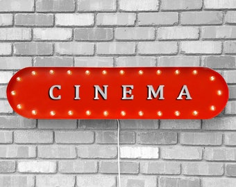 """On Sale! 39"""" CINEMA Metal Oval Sign - Theater Theatre Film Festival Movie Movies Flic - Vintage Style Rustic Marquee Light Up"""