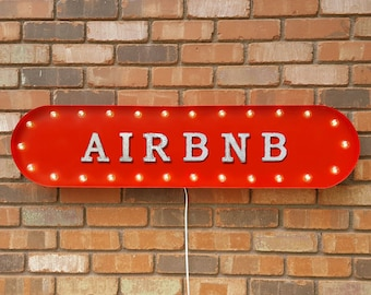 """On Sale! 39"""" AIRBNB Metal Oval Sign - Rent Rental Owner Guest Lodge Board Nightly Daily Cabin Beds - Vintage Style Rustic Marquee Light Up"""