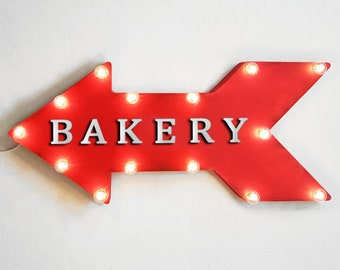 """On Sale! 24"""" BAKERY Straight Metal Arrow Sign - Plugin, Battery or Solar - Bread Yeast Pastries Flour Bake - Rustic Vintage Marquee Light Up"""