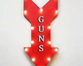 "On Sale! 24"" GUNS Straight Metal Arrow Sign - Shoot Bows Arrows Target Practice Range Gun - Rustic Vintage Marquee Light Up"