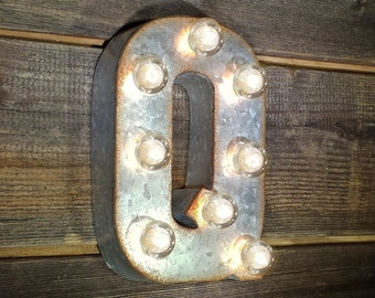 "ON SALE 7"" Letter Q - Small Rustic Metal Marquee LED Plugin Sign Alphabet Light Up - 21 Available Colors!"