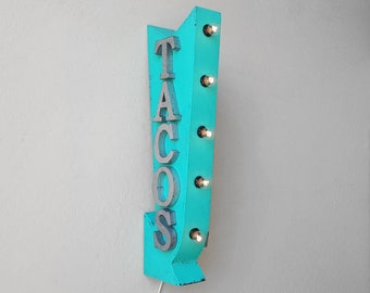 "ON SALE! 25"" TACOS Mexican Food Burritos Taco Plug-In or Battery Operated Rustic led Double Sided Rustic Metal Arrow Marquee Light Up Sign"