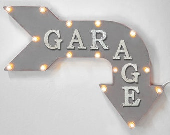"On Sale! 24"" GARAGE Curved Metal Arrow Sign - Workshop Mechanic Tools Cave Repair Shop - Rustic Vintage Marquee Light Up"