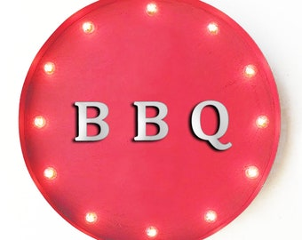 """On Sale! 20"""" BBQ Round Metal Sign - Plugin, Battery or Solar - Barbecue Ribs Grill Wings Sauce Pork - Rustic Vintage Marquee Light Up Sign"""