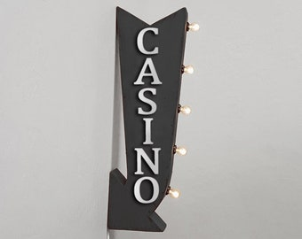 """On Sale! 25"""" CASINO Metal Arrow Sign - Blackjack Play Cards Games - Plugin or Battery Operated Rustic Double Sided Rustic Marquee Light Up"""