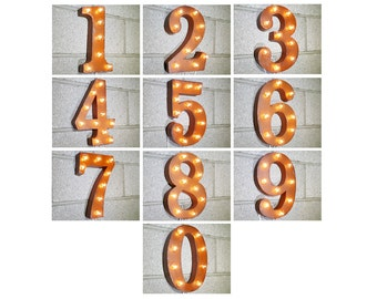 "On Sale! 12"" Rustic Metal Sign - Plugin -  House Number Numbers 1 2 3 4 5 6 7 8 9 0 - Rust Vintage Style Marquee Light Up"