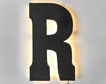 "On Sale! 21"" Letter R Backlit Metal Sign - Plugin or Battery Operated - Rustic Marquee Vintage Style Cutout Light Up"