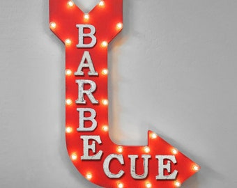"""ON SALE 36"""" BARBECUE Plug-In or Battery Operated led bbq Food Restaurant Steak Beef Pork Ribs Light Up Large Rustic Metal Marquee Sign Arrow"""