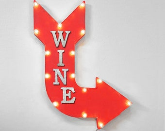 "On Sale! 24"" WINE Curved Metal Arrow Sign - Winery Vineyard Grapes Red White Sip - Rustic Vintage Marquee Light Up"