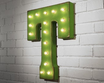 """ON SALE! 21"""" Metal Letter T - Plugin, Battery Operated or Solar Powered - Rustic Nostalgic Vintage Style - Light Up Marquee Letter Sign."""