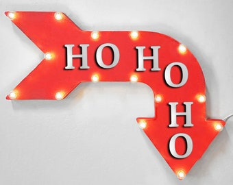 "On Sale! 24"" HOHOHO Curved Metal Arrow Sign - Santa Claus Holiday Christmas Cheer Jolly Joy - Rustic Vintage Marquee Light Up"