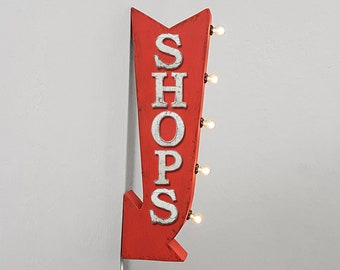 """On Sale! 25"""" SHOPS Metal Arrow Sign - Plugin or Battery Operated - Shop Store Buy Sale Discount - Double Sided Rustic Marquee Light Up"""