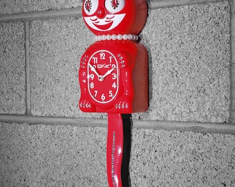 Limited Edition! Official SCARLET RED Kit Cat Clock - Lady Girl Female - Jeweled Swarovski Crystals Kit Kat Cat Clock Klock