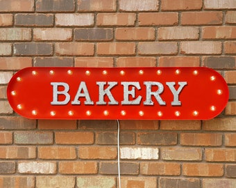 "On Sale! 39"" BAKERY Metal Oval Sign - Pastries Sweet Treats Shop Donut Bagel Bread Danish Coffee - Vintage Style Rustic Marquee Light Up"