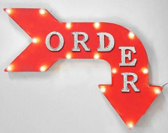 "On Sale! 24"" ORDER Curved Metal Arrow Sign - Pick Up Here Place Food Eat - Rustic Vintage Marquee Light Up"