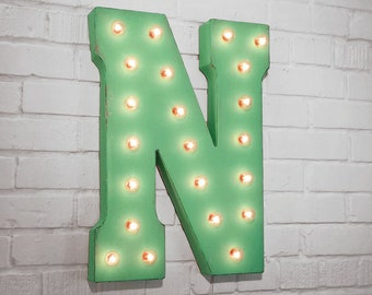 """ON SALE! 21"""" Metal Letter N - Plugin, Battery Operated or Solar Powered - Rustic Nostalgic Vintage Style - Light Up Marquee Letter Sign."""