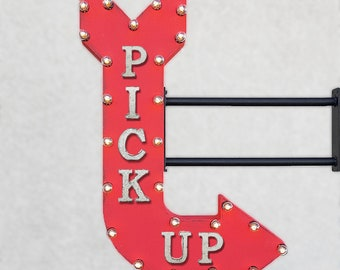 "On Sale! 36"" PICK UP Metal Curved Arrow Sign - Order To Go Pickup Togo Take Out - Double Sided with Bracket - Rustic Marquee Light Up"