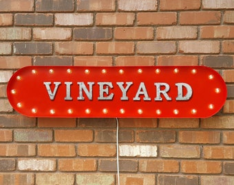 "On Sale! 39"" VINEYARD Metal Oval Sign - Wine Winery Grapes Glass Alcohol - Vintage Style Rustic Marquee Light Up"