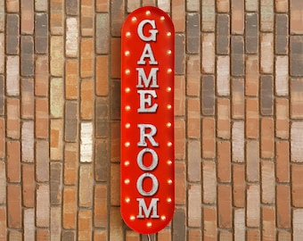 "On SALE! 39"" GAME ROOM GameRoom Play Games Cards Poker Vegas Spades Vintage Style Rustic Metal Marquee Light Up Sign - 22 Color Options!"