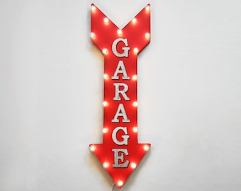 """ON SALE! 36"""" GARAGE Work Shop Cars Trucks Tools Plug-In or Battery Operated led Light Up Restaurant Large Rustic Metal Marquee Sign Arrow"""
