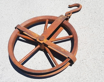 ON SALE Large Metal Vintage Style Rustic Rust Industrial Wench Steampunk Steam Punk Rope Pulley Wheel Hook Hoist - 16 Color Choices!