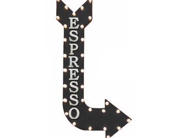 "On Sale! 48"" ESPRESSO Metal Arrow Sign - Coffee Cafe Espresso Shot Latte - Vintage Rustic Curved Marquee Light Up"