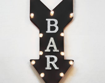 "On Sale! 24"" BAR Straight Arrow Sign - Pub Drinks Alcohol Beer Wine Cocktails Martini - Rustic Vintage Marquee Light Up"