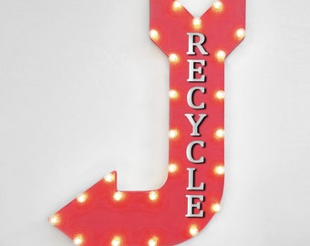 """On Sale! 36"""" RECYCLE Metal Arrow Sign - Plugin, Battery or Solar - Trash Garbage Waste Material Reuse Plastic- Rustic Marquee Light Up"""