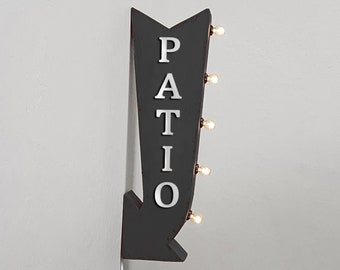 """On Sale! 25"""" PATIO Metal Arrow Sign - Plugin or Battery Operated - Outdoor Seating Area Outside Sit - Double Sided Rustic Marquee Light Up"""