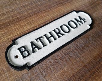 On Sale! - Large Solid Cast Iron BATHROOM Sign Metal Vintage Antique Style Entry Door Sign Plaque