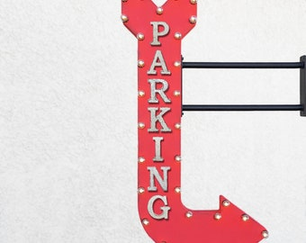 "On Sale! 48"" PARKING Metal Arrow Sign - Garage Park It Pay Here Car Lot Vehicle - Double Sided Hang or Suspend - Rustic Marquee Light Up"
