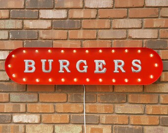 """On Sale! 39"""" BURGERS Metal Oval Sign - Burger Meat Fries Beef Diner Restaurant Cafe Food - Vintage Style Rustic Marquee Light Up"""
