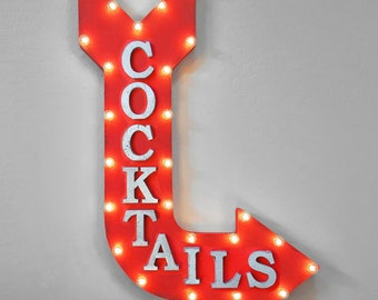 "On Sale! 36"" COCKTAILS Metal Arrow Sign - Plugin or Battery Operated - Cocktail Beer Brewery Bar Wine Restaurant - Rustic Marquee Light up"