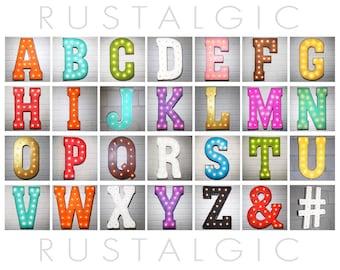 "ON SALE 21"" Plugin Letter. Rustic Vintage Metal Marquee Light Up Letters Alphabet  A B C D E F G H I J K L M N O P Q R S T U V W X Y Z &"