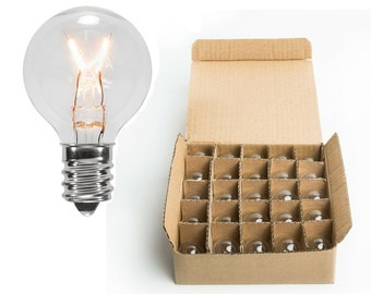 Spare Clear Glass G30 Luminescent Light Bulb - Box Case of 25 Replacement Bulbs - Clear with Warm Glow!