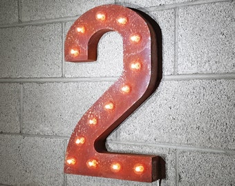 "On Sale! 21"" 2 Metal Sign - Number 2 Two Dos Numero 0 1 2 3 4 5 6 7 8 9 Free Standing or Hang - Rustic Vintage Marquee LED Light Up"