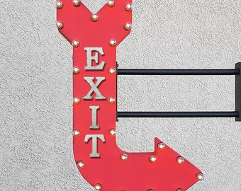 "ON SALE! 36"" EXIT Plug-In Double Sided Leave Here Rustic Metal Light Up Arrow Marquee Come In Store Door Enter Entrance Sign. 14 Colors!"