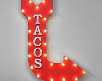 "On Sale! 36"" TACOS Metal Arrow Sign - Plugin or Battery Operated - Mexican Food Restaurant Fiesta Nachos Salsa - Rustic Marquee Light up"