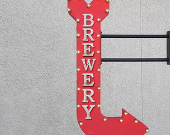 "ON SALE 48"" BREWERY Beer Wine Bar Alcohol Cheers Drinks Beverages Vintage Style Double Sided Rustic Metal Curved Light Up Arrow Marquee Sign"