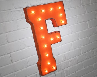 """On Sale! 21"""" Letter F Metal Sign - Plugin - Rustic Vintage Style Custom Marquee Light Up Alphabet Letters"""