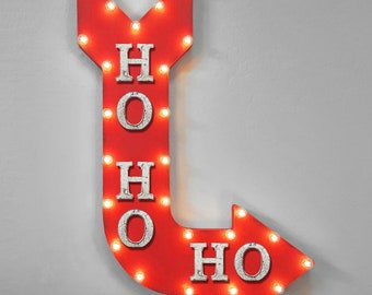 "ON SALE! 36"" HOHOHO Plug-In Battery Operated led Ho Ho Ho Merry Christmas Xmas Holiday Santa Claus Light Up Rustic Metal Marquee Sign Arrow"
