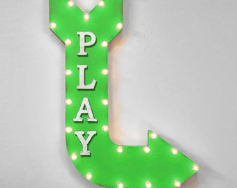 "On Sale! 36"" PLAY Metal Arrow Sign - Playroom Game Room Arcade Games - Double Sided Hang or Suspend - Rustic Marquee Light Up"