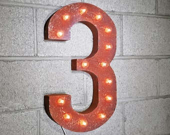 ON SALE! Battery Operated Number 3 Three. 21 Color Options! Hang or Free Stand. Rustic Metal Marquee Led Light Up Sign. 0 1 2 3 4 5 6 7 8 9